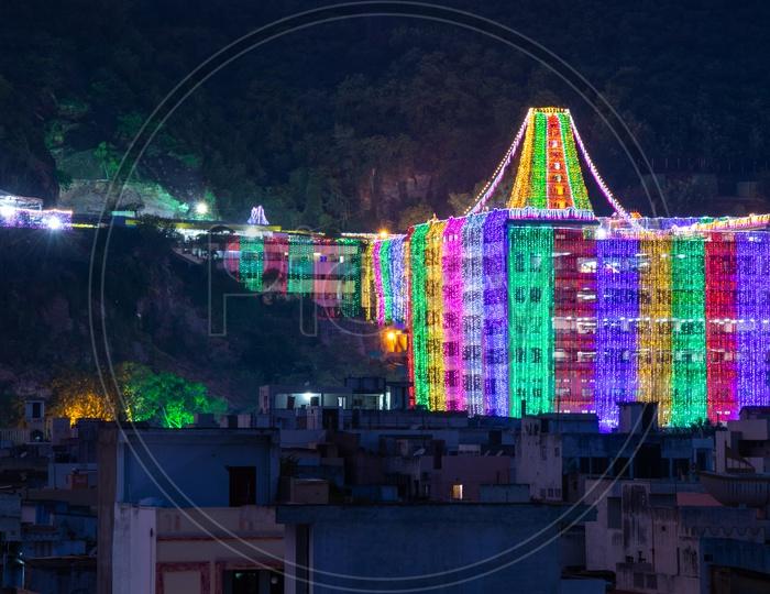 Kanaka Durga Temple ,Vijayawada decorated for Dasara Mahotsavam,2018