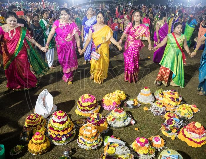 Telangana Bathukamma Celebrations at Bathukamma Ghat, Hyderabad