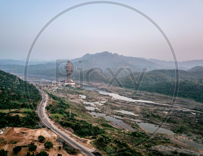 Aerial view of Statue of Unity.