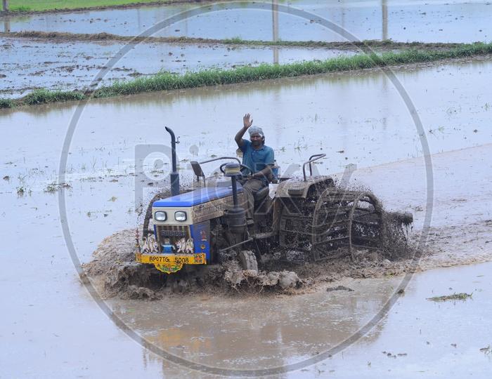 Farmer is busy in Farming