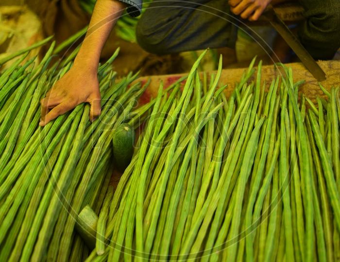 Drumsticks at Local Vegetable Market/Rythu Bazar