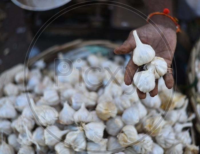 Garlic at Local Vegetable Market/Rythu Bazar