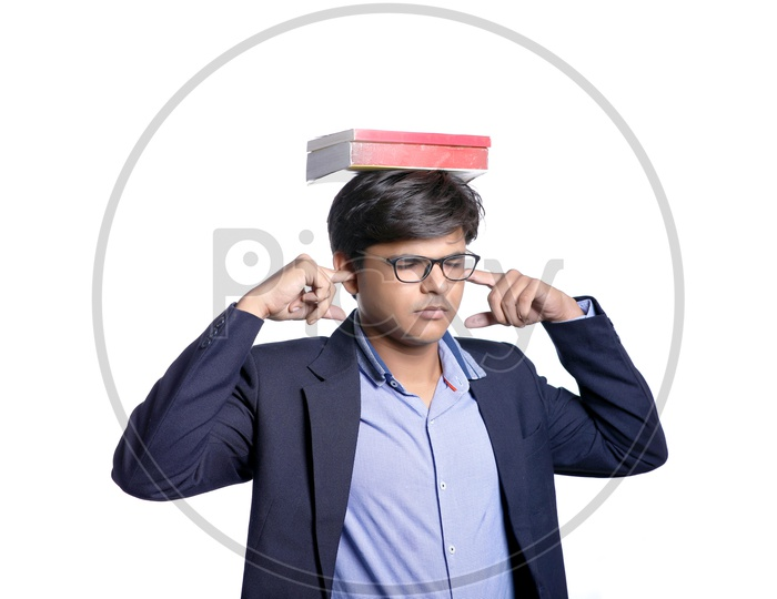 Young Indian College Student with Books, Indian Male Model on White Background