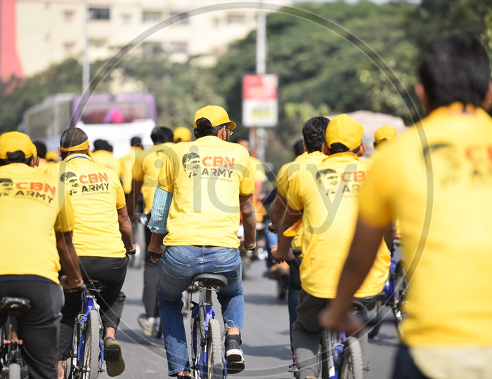CBN Army Cycle Rally in Hyderabad As A Part of Telangana General  Election Campaign 2018