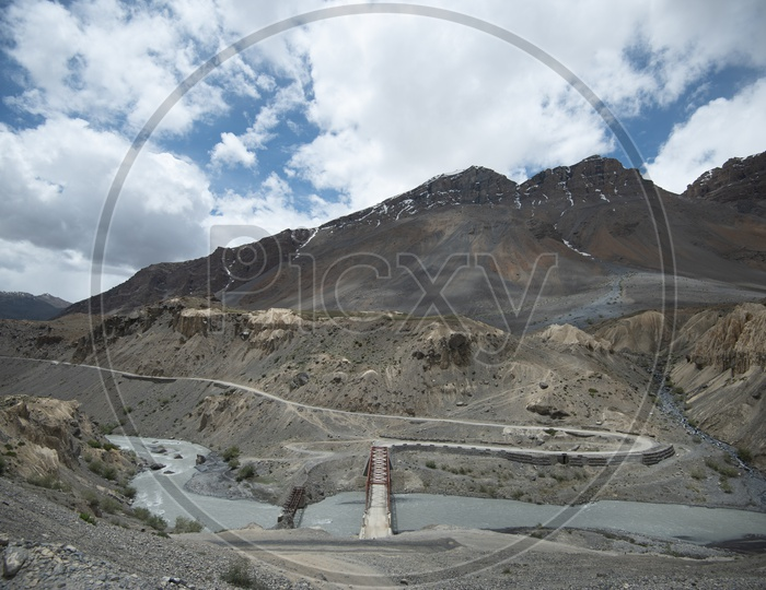 Beautiful Landscape of Snow Capped Mountains, Spiti Valley