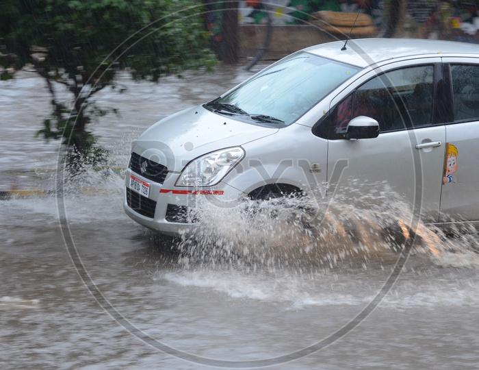 Water logged street, Cyclone Pedhai, Rain