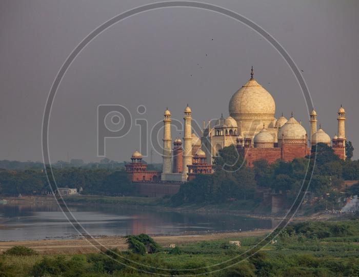 Taj Mahal with River Yamuna in the back side