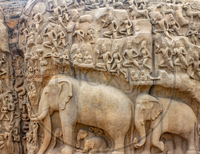 Sculptures at The Descent of the Ganges in Mahabalipuram