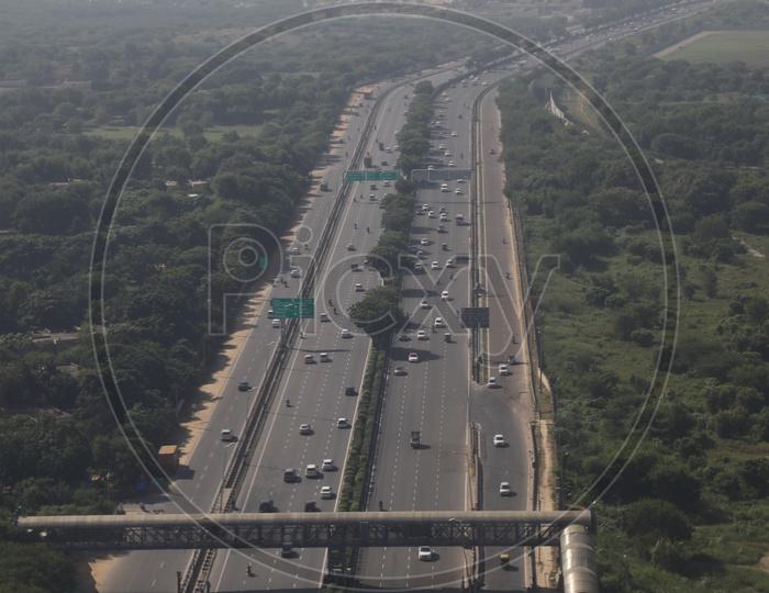 Delhi highway in Aerial View from flight window