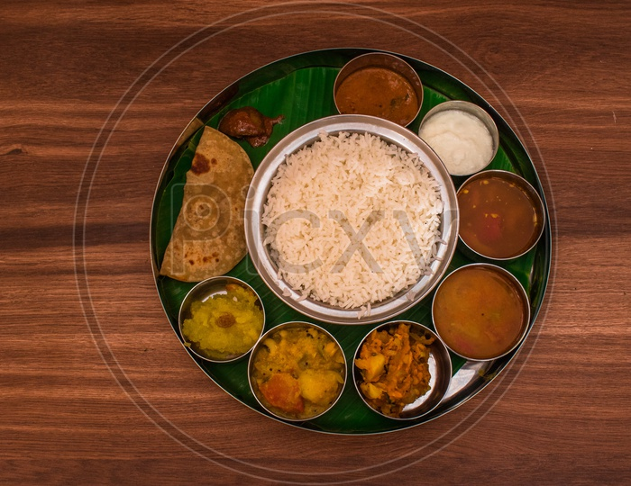 A typical Veg Thali / Food Platter For Lunch / Dinner Meal