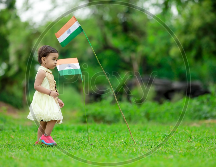 cute little kid having indian flag in hands  / indian flag / nation india