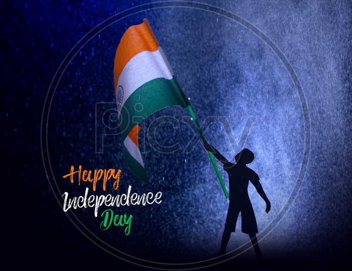 Happy Independence Day Poster With a Boy Having an Indian Flag in hand