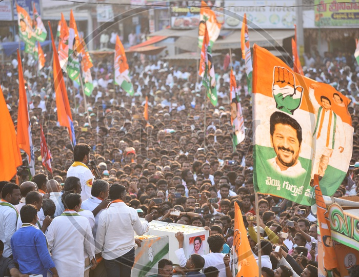 Anumula Revanth Reddy MLA Candidate from Peoples Front (Mahakutami ) For Kodangal Constituency In a Roadshow As a Part of Election Campaign For General Elections 2018