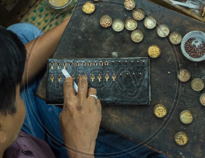 Making of Gold Ear Rings, Mangalagiri.