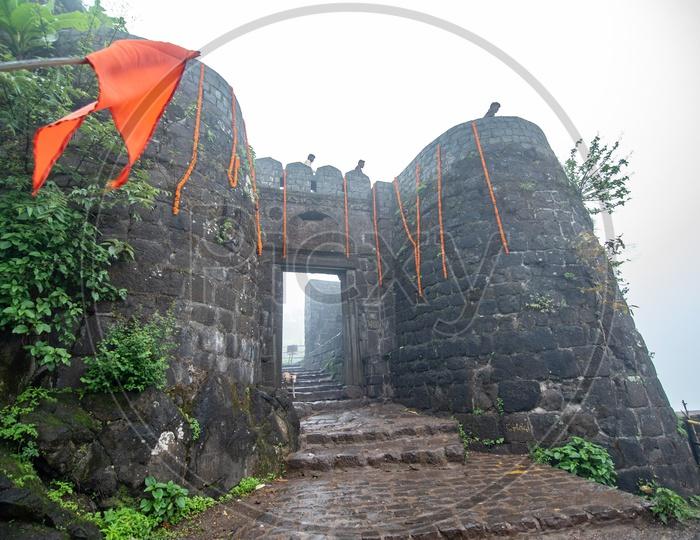 Pune Darwaza - The main gate entrance to Sinhagad Fort