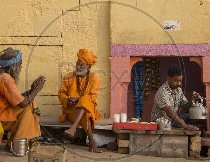 Sadhus at Tea Stall, Varanasi