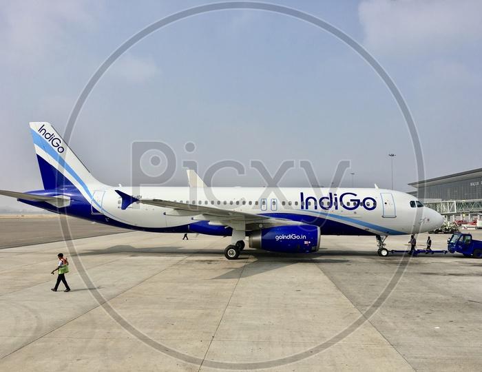 Indigo Aircraft at Hyderabad Airport