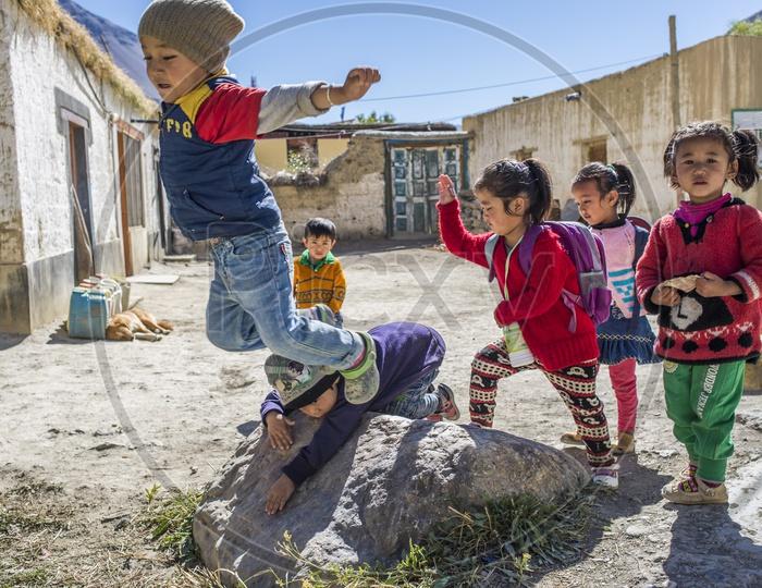 School Kids playing near Tabo Monastery, Spiti Valley