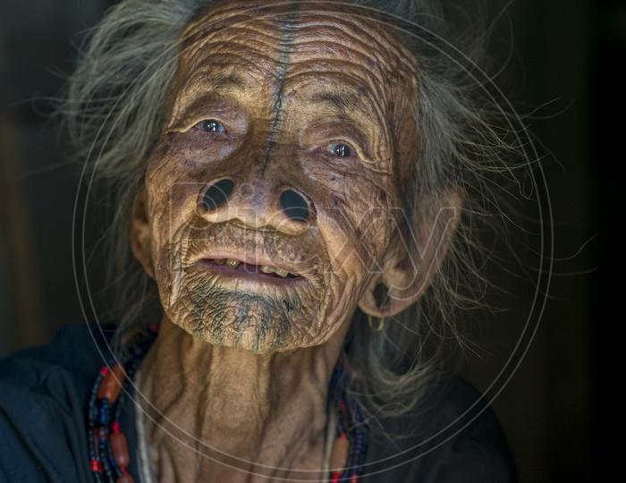 Old Woman in Apatani Tribes, Hija Village, Ziro