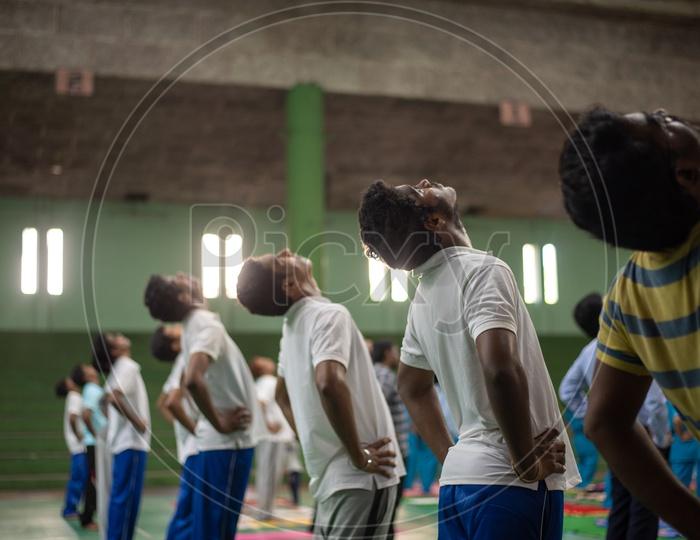 Youth Practising Yoga, International Yoga Day, 2018