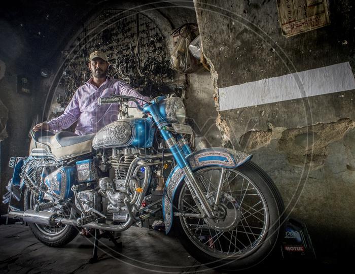Man with Bike at Darul Shifa, Hyderabad
