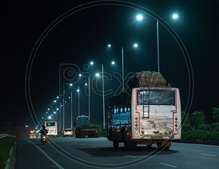 APSRTC Bus on NH 16 under the LED Street Lights