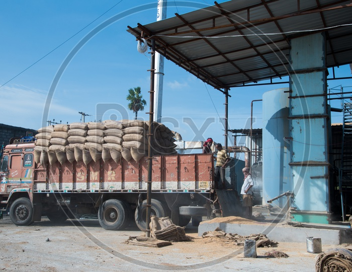 Loading bags of rice onto truck