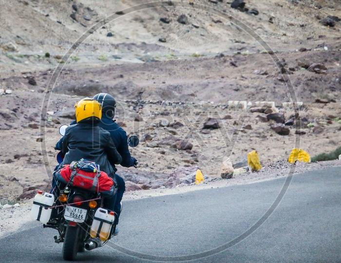 A couple travelling on Bike in Leh Ladakh region
