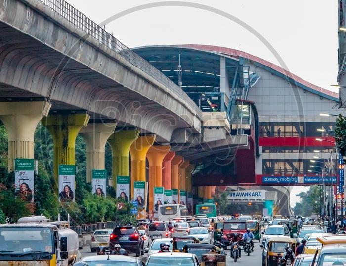 Colored metro pillars at MG road