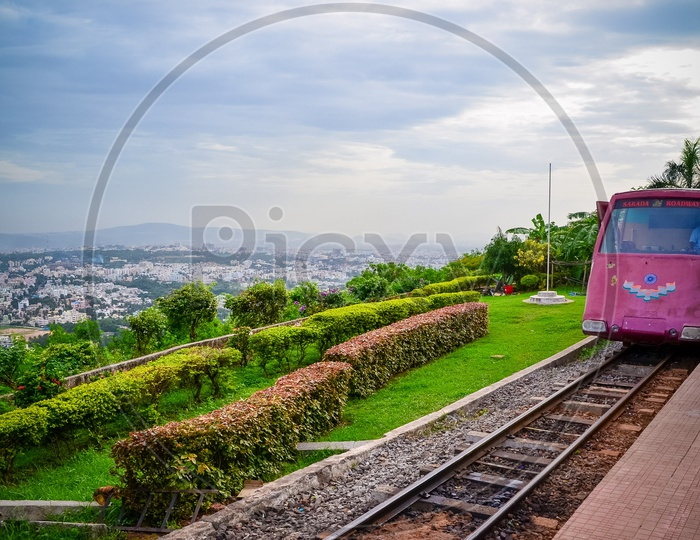 Kailasgiri Hill Toy Train with view of Vizag City