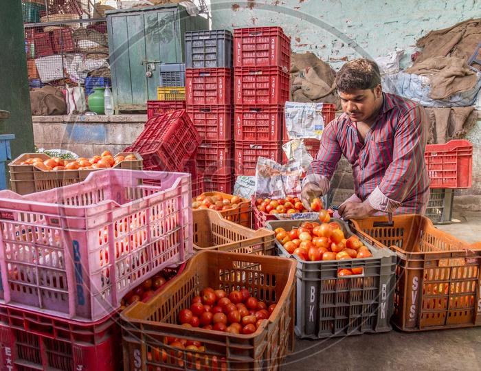 Vegetable Vendor in Monda Market Hyderabad