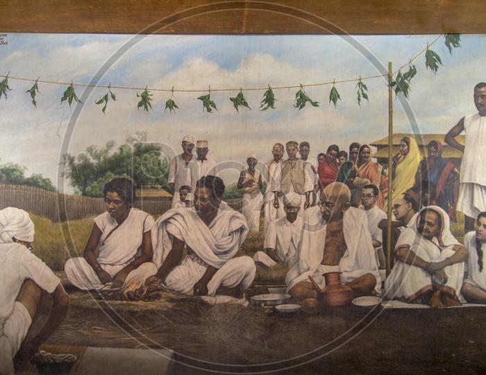 Mahatma Gandhi Painting in Sabarmati Ashram, Ahmedabad