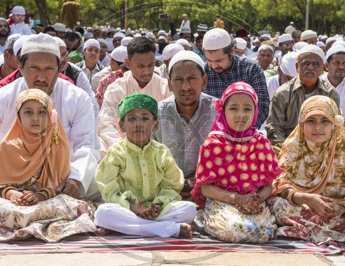 Kids  at Eid Prayer meet in Hyderabad