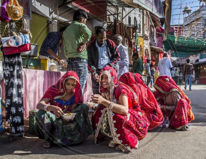 Smiling Rajasthani Women in Traditional Attire, Pushkar Streets