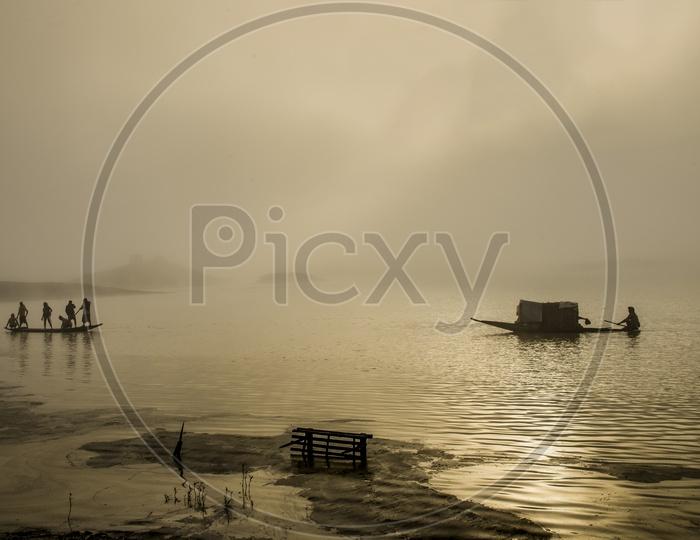 Boats in Chatla Lake, Assam