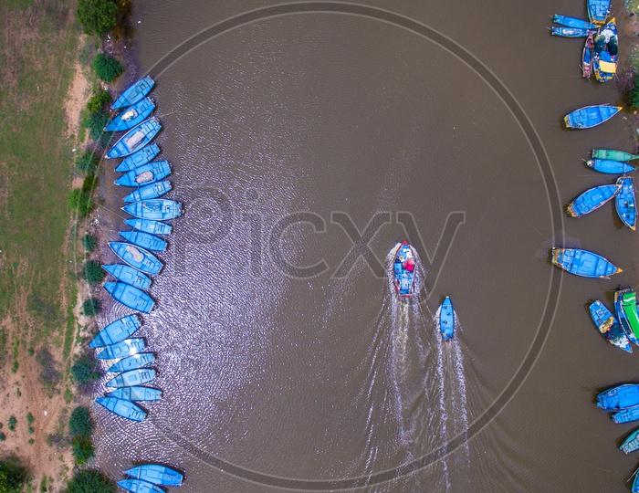 lake in uppada with fishing boats