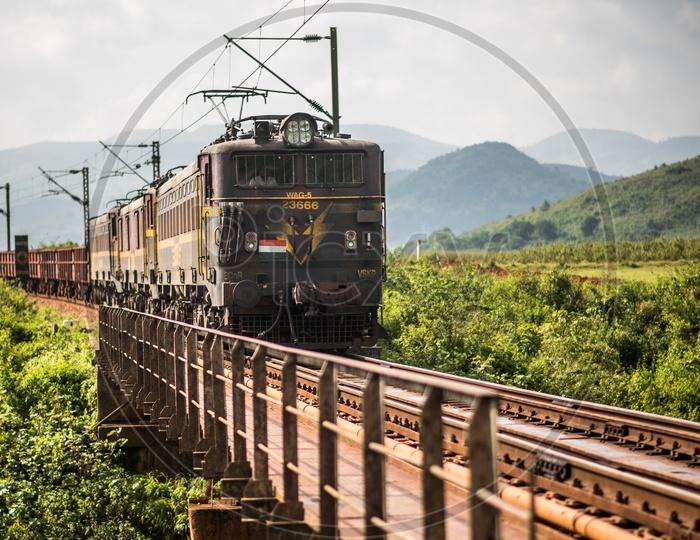 Goods Train crossing Railway Bridge