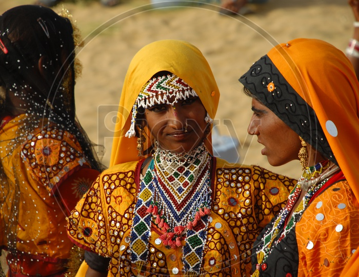 Indian woman in rajasthani dressing attire