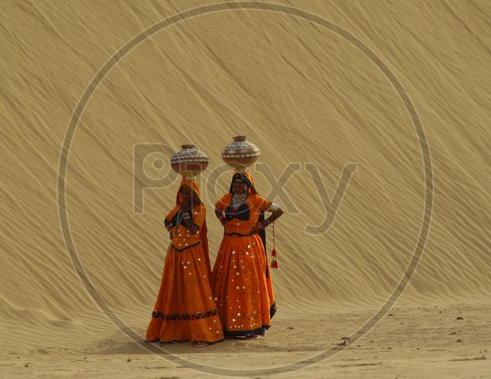 Indian women in rajasthani dressing attire