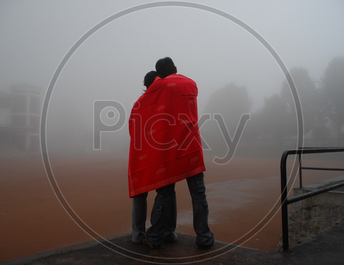 Young couple hugging on a winter day