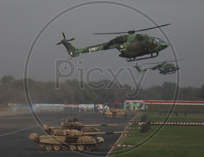 Indian Army Utility Helicopter Dhruv and Battle Tanks