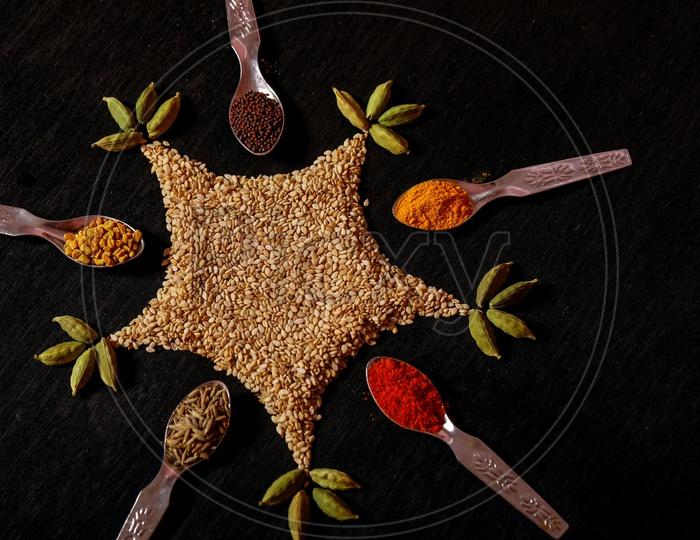Black Mustard Seeds/avalu/Poppy Seed, Red Chilli Powder, Cumin/Jeera, Turmeric, Fenugreek/Methi/Menthi Seeds, Sesame Seeds, Cardamom - Indian Spices