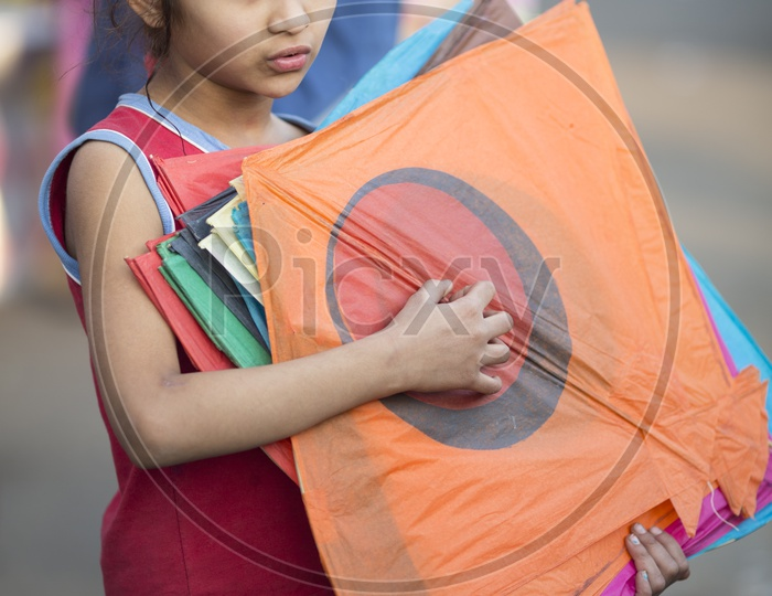 Indian Children Playing With Kites In Gujarat