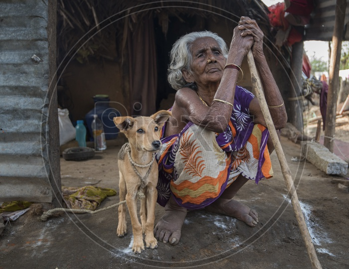 An Indian Old woman in Rural Villages In Tamil Nadu