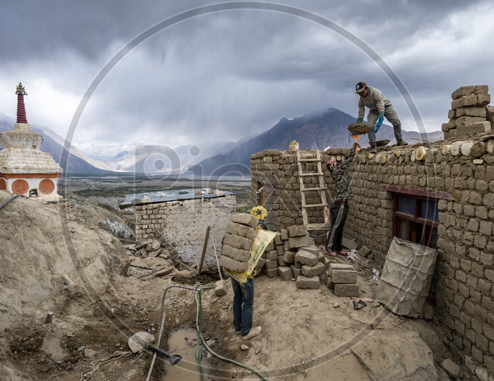 Construction Workers working in Leh