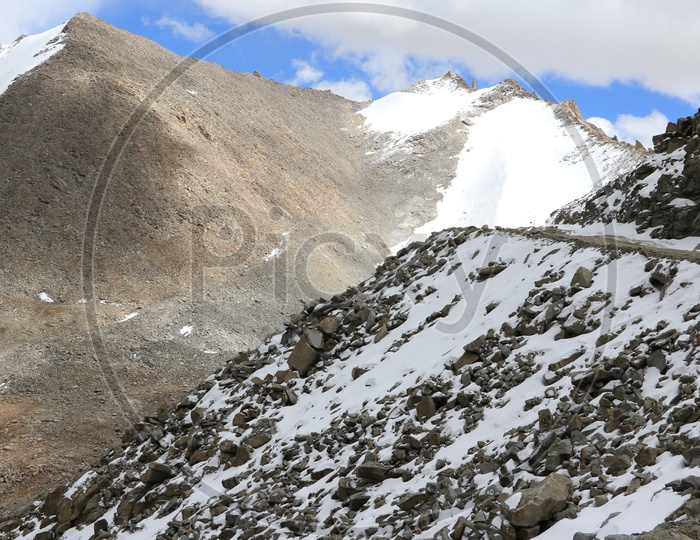 Beautiful Landscape of Snow Capped Mountains of Leh