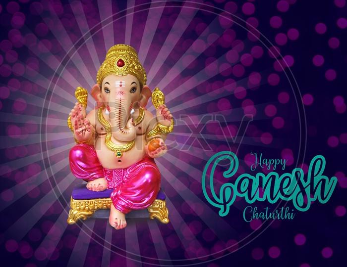 Happy Ganesh Chaturthi poster with Lord Ganesh Idol
