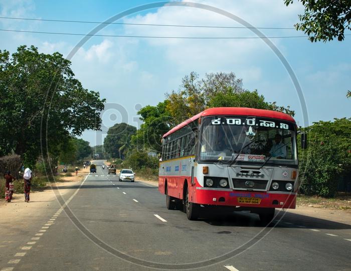 KSRTC Bus On Roads Of Karnataka State