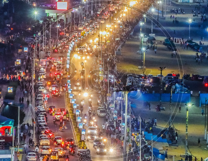 A Night View of Visakhapatnam Beach Road