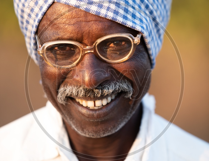 A Portrait Of a Indian Old man In Villages Of Telangana